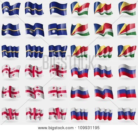 Nauru, Seychelles, Georgia, Russia. Set Of 36 Flags Of The Countries Of The World.