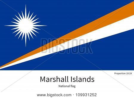 National flag of Marshall Islands with correct proportions, element, colors