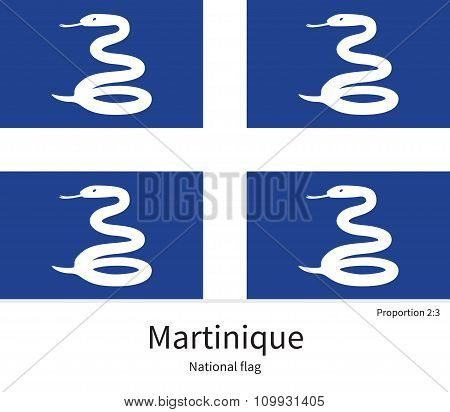 National flag of Martinique with correct proportions, element, colors