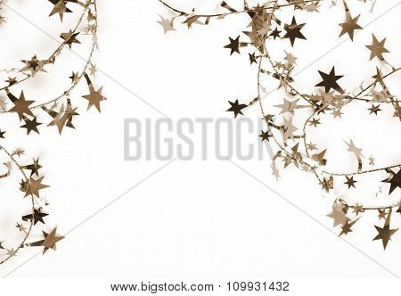 Golden Stars And Spangles As Holiday Background. In Sepia Toned. Retro Style