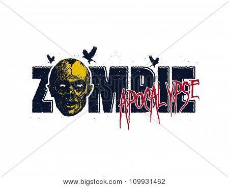 Vector illustration of Cartoon zombie. Hand drawn.