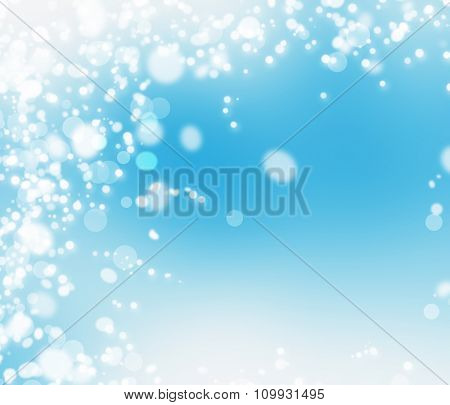 Blue abstract Christmas background with bokeh