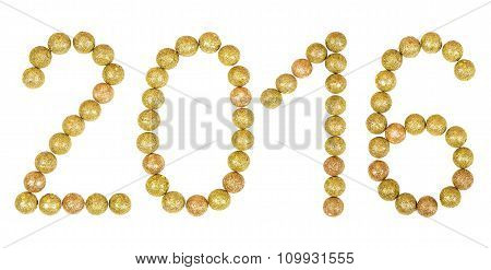 New Years Eve 2016 Golden Numbers Text Of  Tinsel Decoration Isolated On White Background.