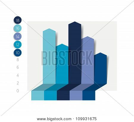 Flat Chart, Graph With Shadows Effect.