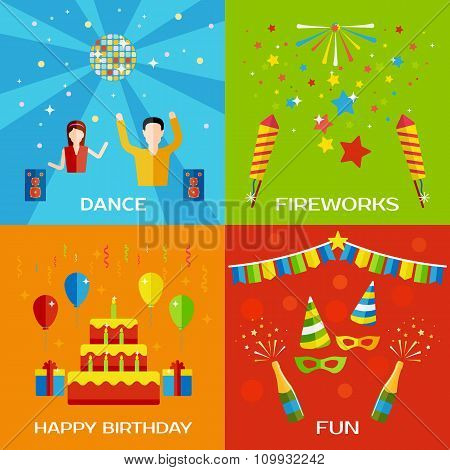 Party, Dance, Fireworks, Happy Birthday concept flat style design banners with dancing people, ballo