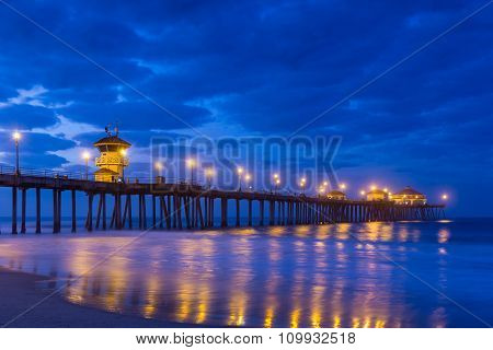 The Huntington Beach Pier At Sunrise