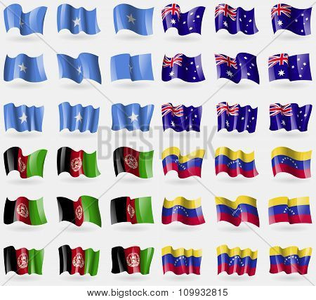 Somalia, Australia, Afghanistan, Venezuela. Set Of 36 Flags Of The Countries Of The World.