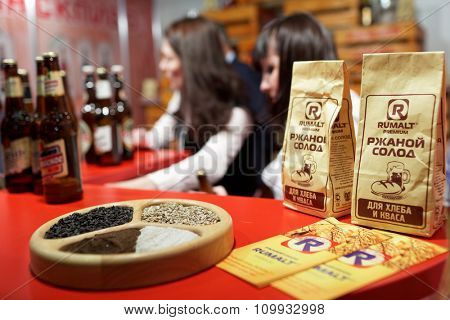 ST. PETERSBURG, RUSSIA - NOVEMBER 18, 2015: Rye malt in the International food exhibition PeterFood. The exhibition is setting up contacts between food manufacturers and retail networks