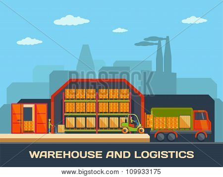 Logistics and warehouse building with trucks and goods, shipping and delivery.