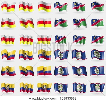 North Ossetia, Namibia, Ecuador, Belize. Set Of 36 Flags Of The Countries Of The World.