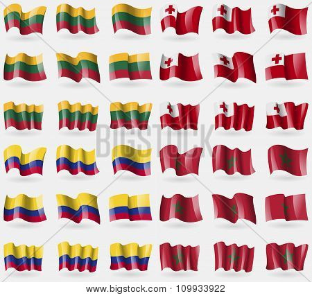 Lithuania, Tonga, Colombia, Morocco. Set Of 36 Flags Of The Countries Of The World.