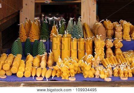 Candles From Beeswax At Christmas Market