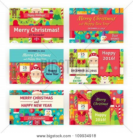 Winter Holiday Christmas Vector Template Invitation Modern Flat Set