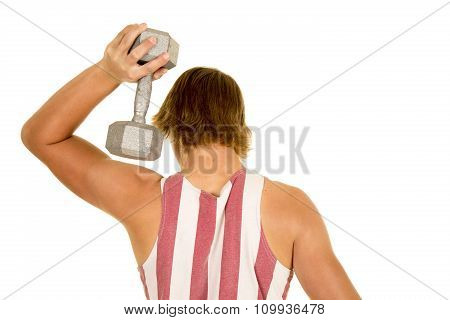 Young Man In Striped Tank Top Weight By Head