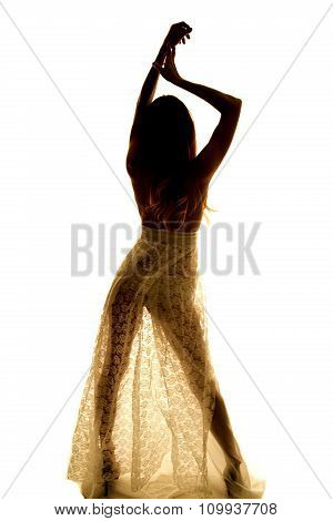 Silhouette Of A Woman In Lingerie Hands Up