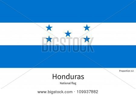 National flag of Honduras with correct proportions, element, colors