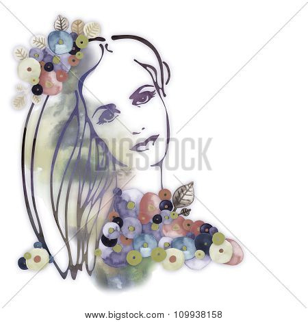Watercolor Decorative background with woman face  2