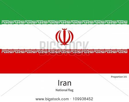 National flag of Iran with correct proportions, element, colors