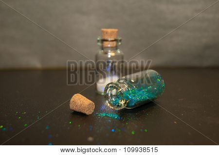 Small Bottles With Glitter