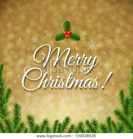 Christmas Golden Bokeh With Gradient Mesh, Vector Illustration