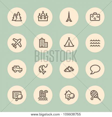 Travel web icons set