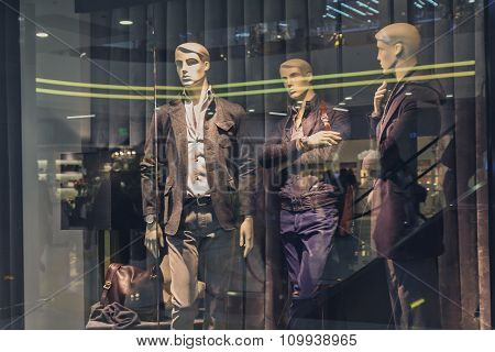 Male Mannequin In A Shop Window. Fashion And Sales
