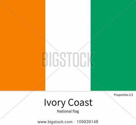 National flag of Ivory Coast with correct proportions, element, colors