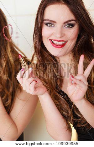 Pretty Girl Having Fun In Bathroom