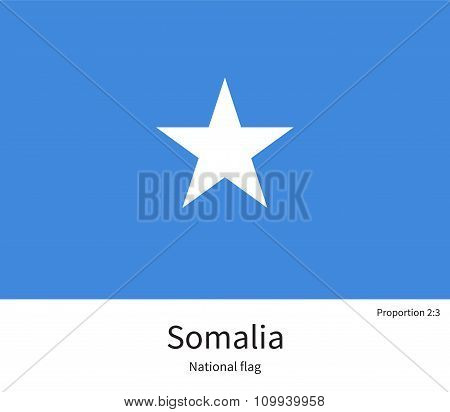 National flag of Somalia with correct proportions, element, colors
