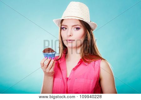 Summer Woman Holds Cake In Hand