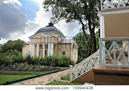 Home Church And The Porch Of The Manor House In The Family Estate Of Lermontov Tarkhany