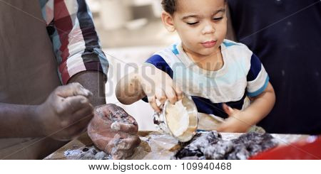 Boy Cooking Kitchen Food Family Concept