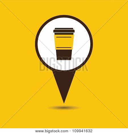 Map Pointer With Coffee Cup Icon.