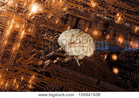 artificial intelligence, human brain and communication, electronics and computers