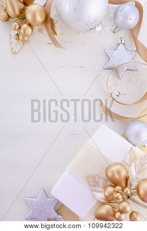 White Gold Christmas Background With Decorated Borders.