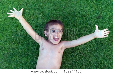 Happy summer vacation for kids on perfect meadow grass