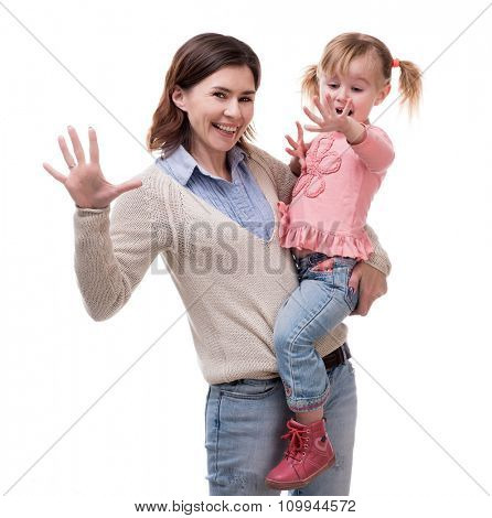 mother with daughter in her arms with palms up isolated on white background