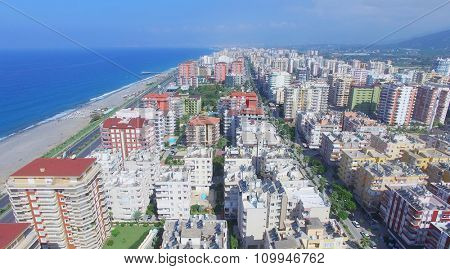Coastal city Alania at summer sunny day. Aerial view videoframe