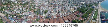 Cityscape panorama of Alania resort city at summer sunny day. Aerial view videoframe