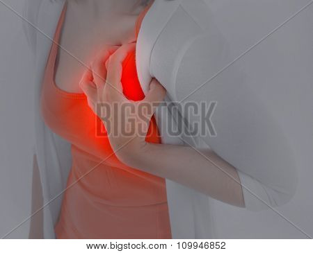 Woman having chest pain - heart attack. On white background