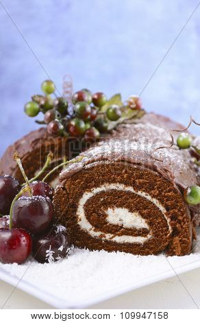Christmas Yule Log Cake.