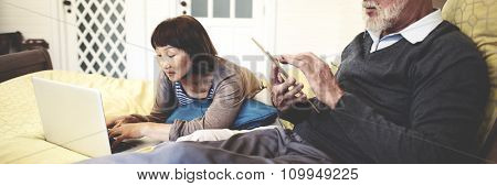 Couple Bonding Relationship Leisure Digital Device Concept