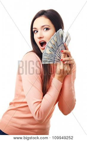 Woman holding money isolated on white
