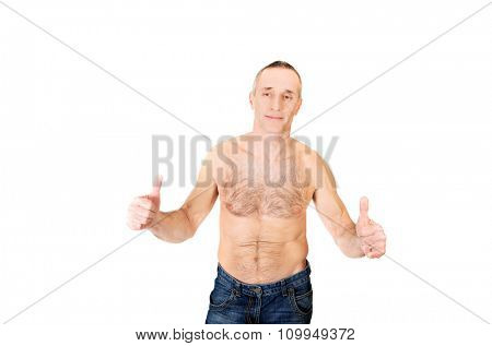 Portrait of mature shirtless man with ok sign.