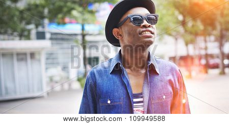 African Man Relaxation Outdoors Happiness Concept