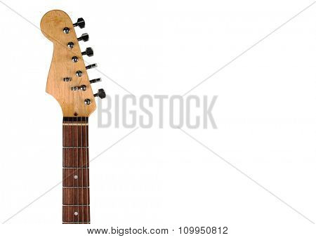 Part of electric guitar, isolated on white, close-up
