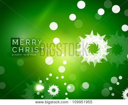 Christmas green color abstract background with white transparent snowflakes. Holiday winter template, New Year layout