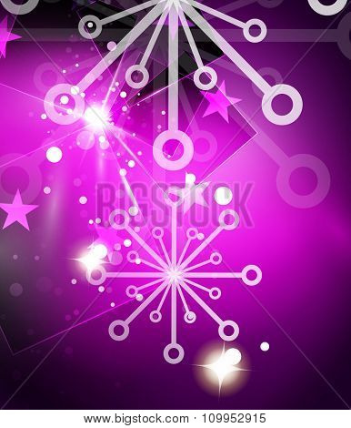Christmas purple color abstract background with white transparent snowflakes. Holiday winter template, New Year layout