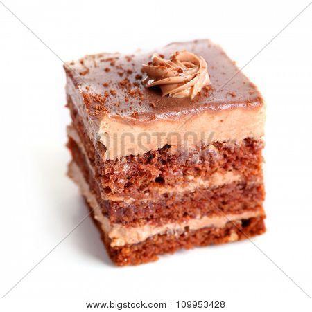 Sweet chocolate cake isolated on white background