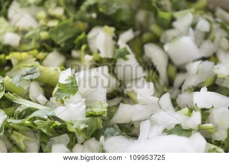 Garnish With Onion And Parsley